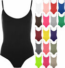 Womens New Ladies Thin Strappy Sexy Sleeveless Cami Bodysuit Stretch Leotard Top