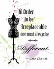 Decorative Wall Art Print: Women's Beauty & Fashion COCO CHANEL Be Different