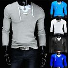 Man Long sleeve T-SHIRT V neck sling casual shirt jogger pullovers sport sweater