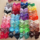 "Girls 4"" inch hair bow CLIPS hairclip slide grossgrain ribbon 40 colours bun lot"