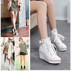 Wedge Heel Canvas Sneakers Lace-up High Upper US5-US10 Ankle Boots Women Shoes