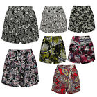 New Womens Ladies Wide Leg Linen Floral Print Flippy Style Casual Summer Shorts