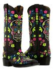 Womens new black leather occasion cowboy boots rocker skull halloween square toe