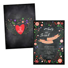 Personalised engagement party invitations INDIE FLORAL CHALK EFFECT FREE ENVELOP