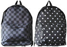 Black Backpack with Spots or Checks Chequered 2 Compartments Main and Front D04