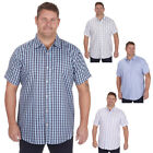 Mens Plus Big Size Check Shirt Top Short Sleeve Smart Work Casual King 3XL-6XL