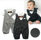 Newborn -24M Baby Toddlers Boy Dress Formal Tuxedo Suit Romper, Grey / Black NEW
