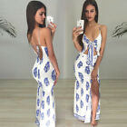Women Backless Ribbed Strap Bodycon Maxi Evening Floral Dress  Cocktail Clubwear
