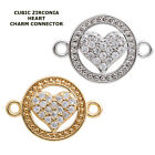 Cubic Zirconia Crystal Love Symbol Heart Bracelet connector Charm Plated 2pcs
