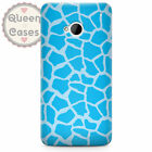 Giraffe Print Bright Blue Phone Case for HTC fits HTC One M9 M7 Mini Desire Sens