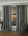 Black And White Stripe Ring Top/Eyelet Lined Curtain Pair By Hamilton McBride®