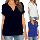 Fashion Women's Ladies Casual Summer V Neck Tops T-shirt Casual Loose Blouse Tee