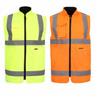 Hi Viz Reversible Bodywarmer Waterproof Jacket Warm Mens Coat Workwear