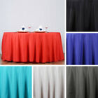 """5 pcs 132"""" ROUND POLYESTER TABLECLOTHS Extra Wide Wedding Tabletop Linens SALE"""