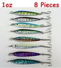 3-16 Pcs 1oz Mega Live Bait Metal Jigs Butterfl Fishing Lures with Treble Hook
