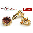 2pcs Square 12mm Bezel Base Clip on Earrings GP with Crystal Rhinestones