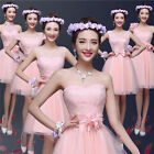 A line Pink Lace Tulle Short Cocktail Prom Homecoming Sash Bridesmaid Dresses