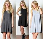 A-Line Flared Solid Trapeze Sleeveless Loose Fit Relax T-shirt Top Tunic Dress