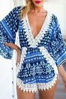 Women Blue Printed V Neck Crochet Lace Trim Short Playsuit Plunging Romper M, L