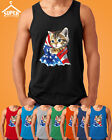 American Flag Kitty Man TANK Top Cat in American Flag Tee Tank Top KITTY with FL