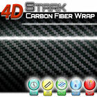 4D Premium Black Carbon Fiber Vinyl Wrap Roll Sticker Bubble Free Air Release