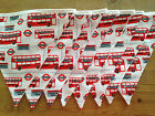 London Routemaster Bus Bunting - red and white bus and bus station bunting.