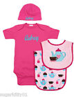 Personalized Baby Girl Hot Pink Tea Time Onezee, Bib, Burp Cloth & Hat