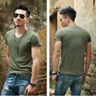 Army Man Basic Tee Cotton T-shirts V neck short sleeved Shirt Men casual shirts