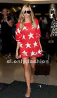 2016 HOT New Asymmetrical Sweater Loose Tops Red Black Stars Sexy Baggy Blouse