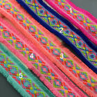 "5 yard 4.5cm 1.77"" wide red/turquois tassel fringes tapes lace trim ribbon 32119"