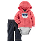 NWT Carters Infant Boy 3-Piece Fall Winter Outfit Set Hoodie Jacket Vest Fleece