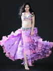 C12 Belly Dance Costume Set Bra Top Belt Skirt Dress Carnival Bollywood XL/D Cup