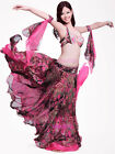 C925 Belly Dance Costume Outfit 4Pics Bra&Belt&Skirt&Arm Bollywood XL/Bra D Cup