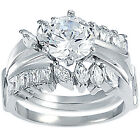 925 Sterling Silver Baguette Round Marquise CZ 2 Ring 3 In 1 Band Set Size 3-11