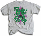 Bleeding Green Skull Roses Mens White T Shirt Sm - 2XL