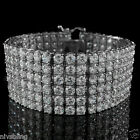 18K White Gold ICED OUT CZ 6 ROW Stainless Steel MICROPAVE MEN Silver Bracelet