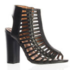Women's Black Open Toe Caged Bootie Bamboo Embark-33M