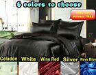 6 Colors-Luxury Silk Satin Queen Bed Sheet Set NEW Quality Hotel Bedding Linen