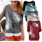 Women Short Sleeve Loose Casual feather Split Sleeve Print T-shirt Tops Blouse