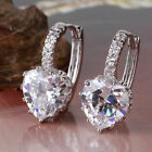Lovely Heart 18k White Gold Filled White Crystal Bling Hoop Earrings