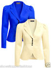 NEW Womens Blazer Ladies Jacket Suit Blue Cream Fitted Size 8 10 12 14 16