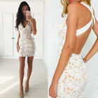 Elegant Women Sleeveless Lace Mini Fashion Wedding Dress Summer Party Crochet A