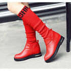Women's Spring/Autumn Knee High Boots Pull On Round Toe Plus Size Flats Shoes