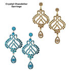 Beautiful Crystal Rose Flower Design Bridal Chandelier Cocktail Earrings Plated