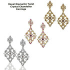 Elegant Crystal Royal Diamante Twist Bridal Chandelier Cocktail Earrings Plated