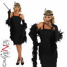 20's Roaring Black Flapper Fancy Dress Costume Charlston Womens Ladies UK 8 - 30