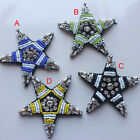 5pcs 6.4cm black/green/yellow stars Rhinestones beads shoes appliques patch 4152