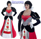 LADIES QUEEN OF HEARTS ALICE LONG GOWN FANCY DRESS COSTUME OUTFIT NEW 10/12