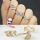 Unique 3pcs Sweet Rhinestone Leaves Knuckle Top of Middle Finger Rings