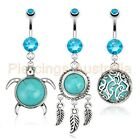 Turquoise Semi Precious Stone Belly Button Bar Piercing Navel Ring Dangle